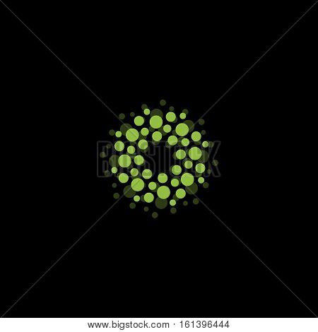 Abstract circle logotype. Unusual dotted round isolated chem logo. Virus icon. Green plant. Flower symbol. Sphere sign.Vector germs illustration