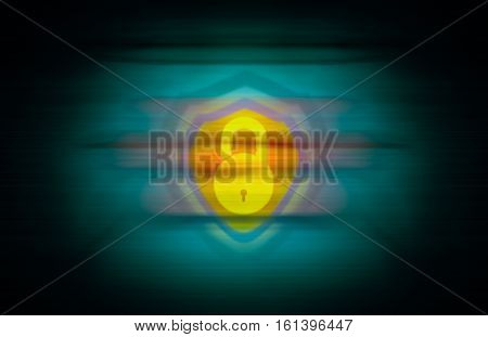 yellow open lock and a shield merged on seamless abstract background with vignette effects