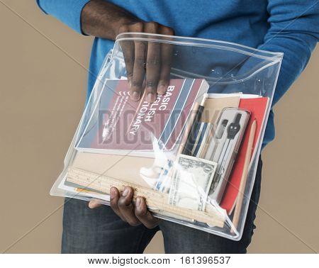 Man Holding Work Bag Concept