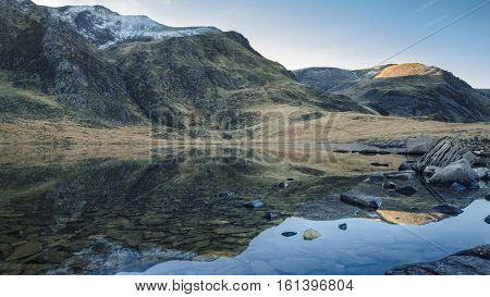 Crystal Clear Water of Llyn Idwal Lake in Northern Snowdonia