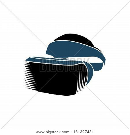 Isolated vr headset logotype on white background. Black color virtual reality helmet logo. Head-mounted display icon. Modern gaming device. Simulation smartglasses vector illustration