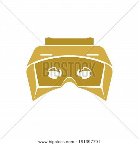 Isolated vr headset logotype on white background. Golden color virtual reality helmet logo. Head-mounted display icon. Futuristic gaming device. Simulation smartglasses vector illustration