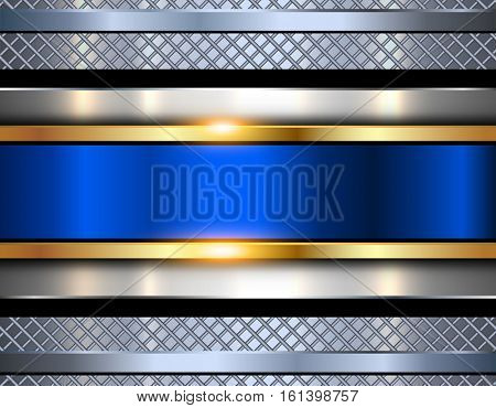 Background metallic, shiny blue metal texture, vector illustration.
