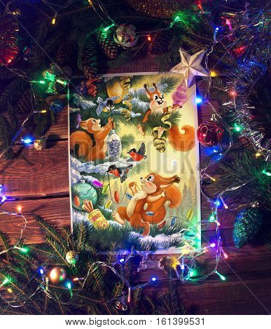 Christmas illustration of a funny characters squirrels in a themed environment.