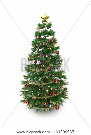 Christmas tree isolated on white background - 3D render