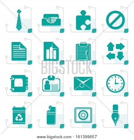 Stylized Simple Business and Office Icons - Vector Icon Set