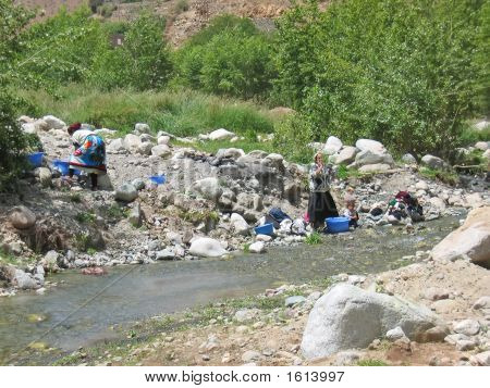 Women Moroccan Making Their Laundry On A River In The Mountains, Setti Fadma Atlas, Ourika Valley, M