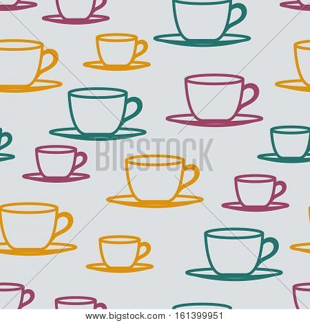 Teacups or coffee cups seamless vector pattern illustration