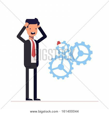 Man in business suit discovered damage to the mechanism gears. Businessman found an error. Scared manager kept hands behind his head. Vector, illustration EPS10