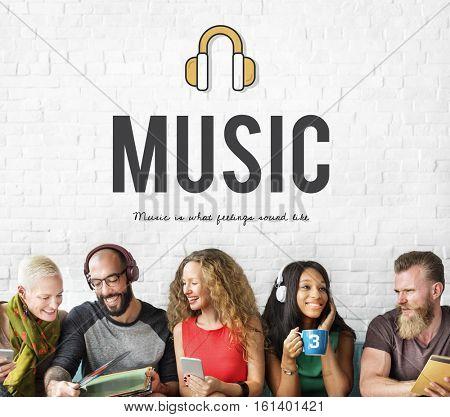 Headphones music media icon online