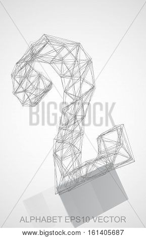 Abstract illustration of a Pencil sketched 2 with Reflection. Hand drawn 3D 2 for your design. EPS 10 vector illustration.