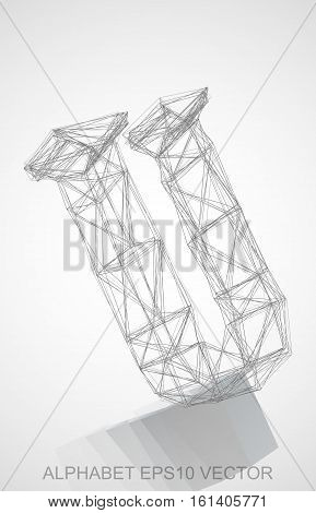 Abstract illustration of a Pencil sketched U with Reflection. Hand drawn 3D U for your design. EPS 10 vector illustration.