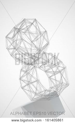 Abstract illustration of a Pencil sketched 8 with Reflection. Hand drawn 3D 8 for your design. EPS 10 vector illustration.