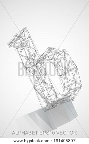 Abstract illustration of a Pencil sketched B with Reflection. Hand drawn 3D B for your design. EPS 10 vector illustration.