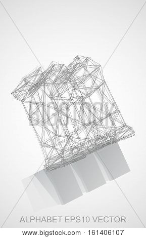 Abstract illustration of a Pencil sketched M with Reflection. Hand drawn 3D M for your design. EPS 10 vector illustration.