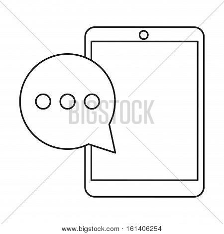 mobile device bubble speech dialog outline vector illustration eps 10