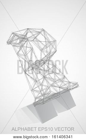 Abstract illustration of a Pencil sketched R with Reflection. Hand drawn 3D R for your design. EPS 10 vector illustration.