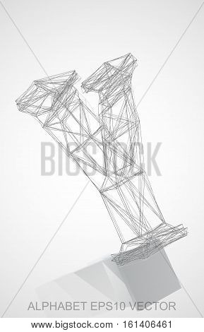 Abstract illustration of a Pencil sketched Y with Reflection. Hand drawn 3D Y for your design. EPS 10 vector illustration.