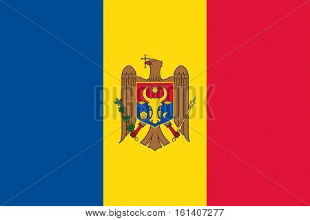 Waving flag of Moldova. Vector illustration of icon with blue, yellow, red colors and eagle emblem.