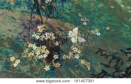 Butterfly and flowers floating on the surface of a pond with rocks below and tree reflections in the rippled waters surface. Moody, grunge, watercolor textured image.