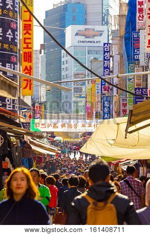 Namdaemun Market Crowded People Walking Seoul V