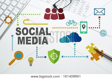 Social media and network concept over white background