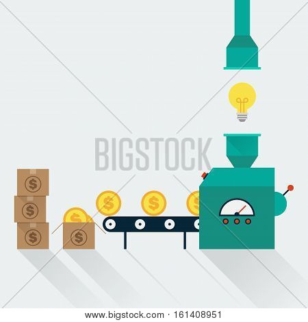 Transform creative idea to money creative idea in business concept flat design vector illustration