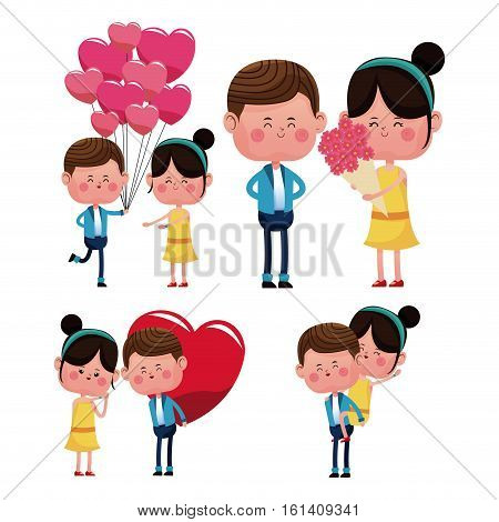 lovely young couple smiling vector illustration eps 10