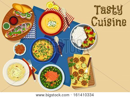 Fish dishes dinner menu icon with turkish kebab with rice, fish sandwich with vegetable, russian fish soup, portuguese fish cutlet, balkan eggplant soup, pearl barley soup, apple risotto