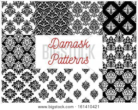 Damask patterns. Vector pattern of ornamental floral decoration elements. Luxurious royal baroque ornaments and imperial decorative flourish black and white pattern tiles