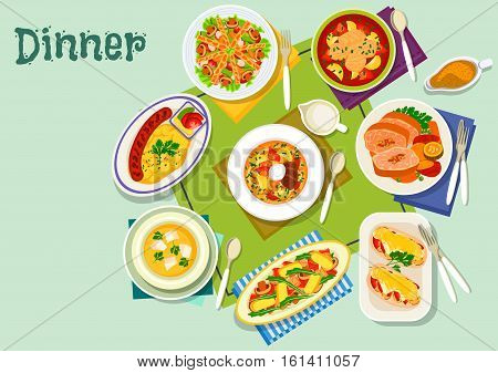 Meat and fish dishes for lunch icon with grilled sausage, baked chicken with cheese, lamb roll in wine sauce, fish tomato soup, beef soup, chicken in bacon, mushroom salad with pork, carrot cream soup