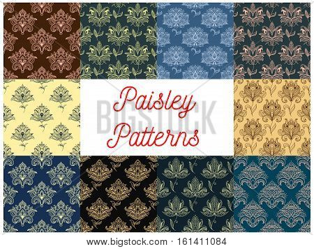 Paisley patterns set. Vector seamless floral backgrounds set. Indian, persian, turkish flowery ornate motif