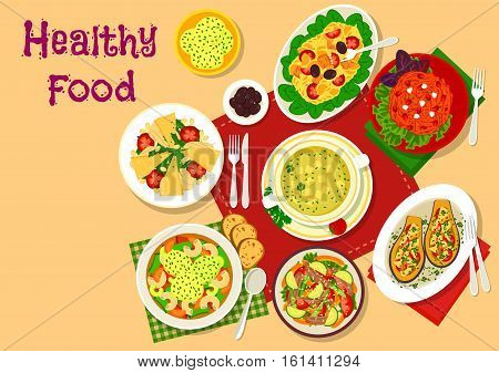 Healthy salad and soup lunch dishes icon with vegetable pork salad, chicken cheese soup, pasta beef salad with tomato, carrot nut salad, cheese dumpling soup, baked eggplant, meat salad with cheese