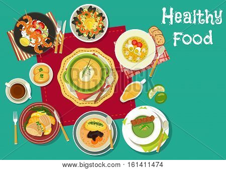 Healthy dinner with soups and seafood dishes icon of mushroom, green pea and sorrel cream soup, seafood paella, grilled shrimp with rice and vegetables, baked fish with oranges, turkey rice soup
