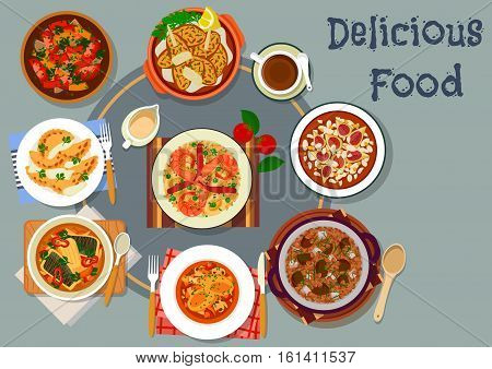 Portuguese cuisine lunch with dessert icon of vegetable fish stew with chicken giblets, seafood rice with shrimp, chicken with mushroom, meat dumpling, almond pie with figs, cod croquette
