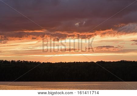 Orange Skies and Clouds in the Wilds of Quetico Provincial Park in Ontario