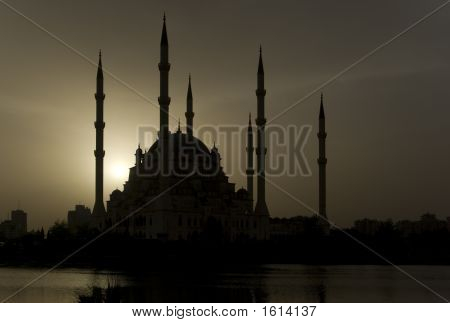 Adana Mosque Landscape Silhouette