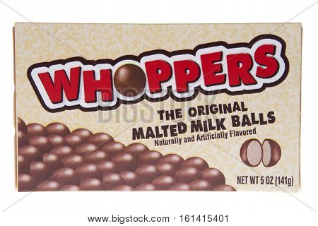 ALAMEDA, CA - JANUARY 01, 2016: Box of Whoppers Malted Milk Balls Whoppers is owned by the Hershey Company and was first introduced in 1949.