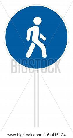 Prescriptive traffic sign isolated on white 3D illustration - Pedestrian path