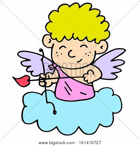 Cute cupid character vector art collection stock