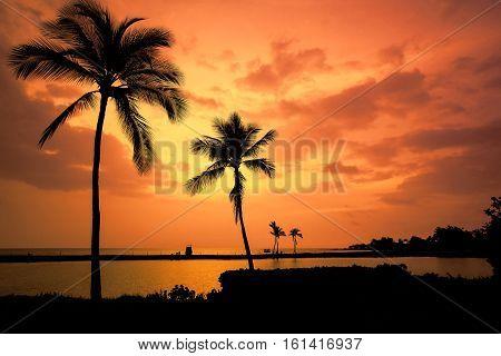 Hawaiian Sunset on Big Island Anaehoomalu Bay. Toned image.
