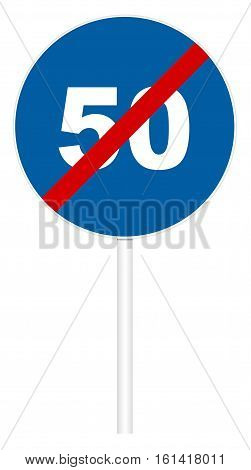 Prescriptive traffic sign isolated on white 3D illustration - End Minimum speed limit 50