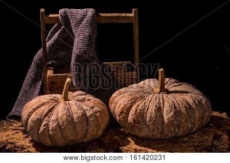 Pumpkins With Dark Background