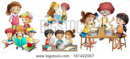 Many children doing different activities illustration