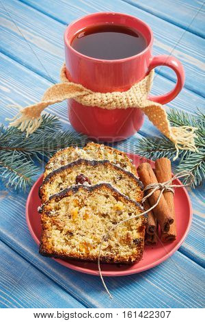 Cup Of Tea, Fresh Baked Fruitcake For Christmas And Spruce Branches
