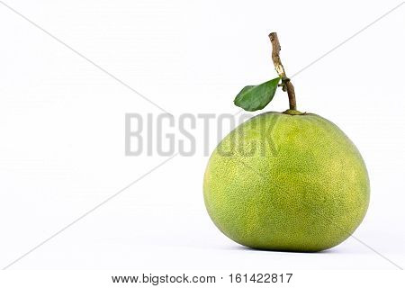 fresh green pomelos on white background healthy fruit food isolated