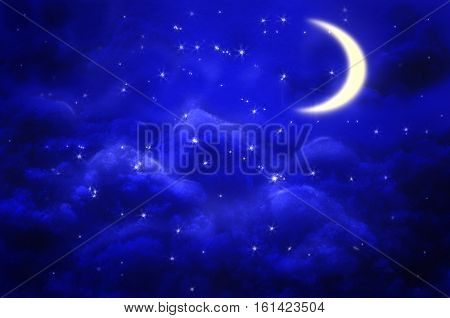 Mystical Night sky background with half moon, clouds and stars. Moonlight night.