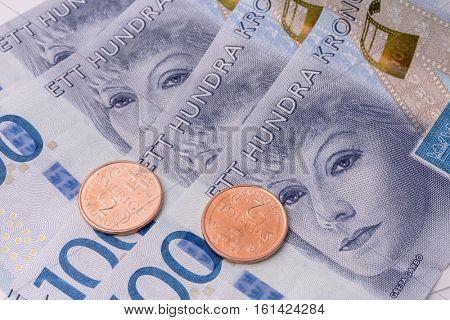 Swedish currency closeup.