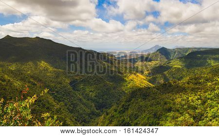 View from the Gorges viewpoint. Black River Gorges national park. Mauritius. Panorama