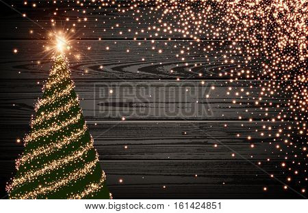 Wooden luminous background with green Christmas tree. Vector illustration.